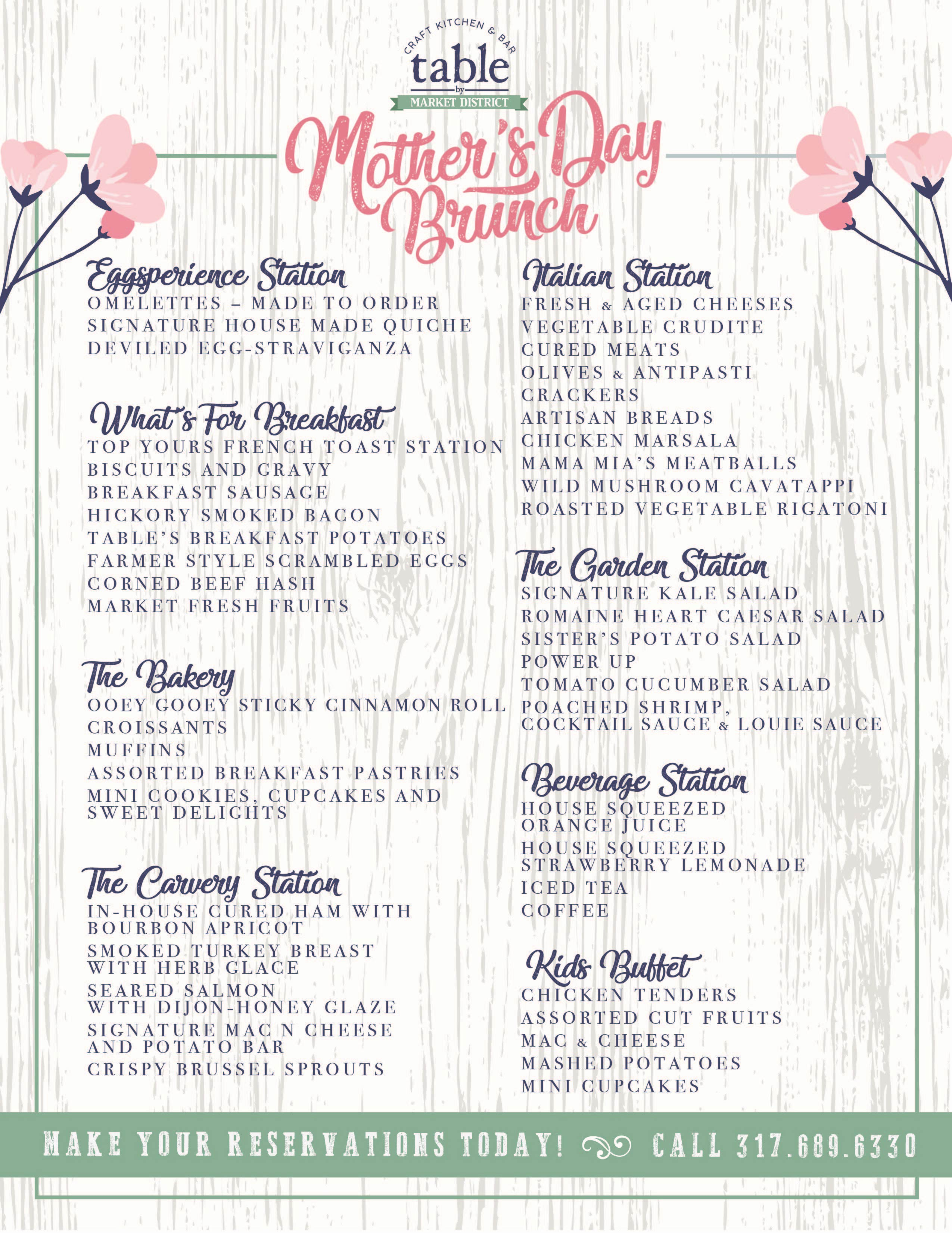 Mothers Day Brunch At Table By Market District Edible Indy - Market table reservations