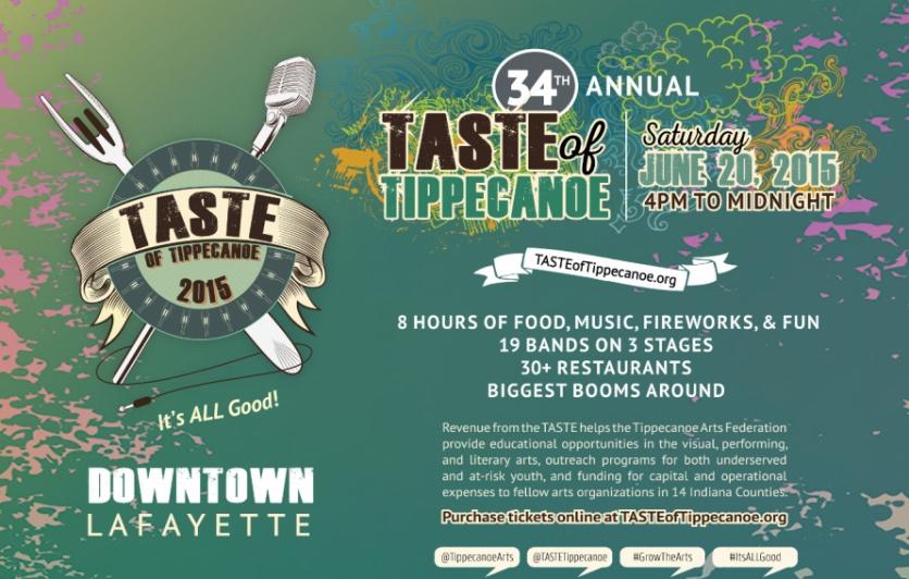 34th Annual TASTE of Tippecanoe - Saturday, June 20th