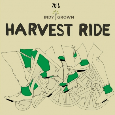 Harvest Ride title with illustrated biker legs