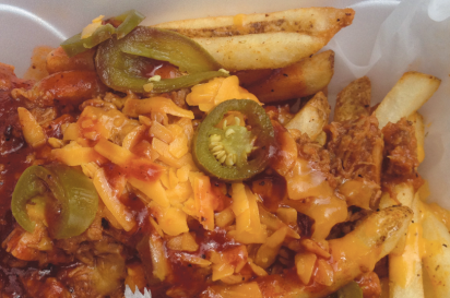 Pulled pork fries, with BBQ pork, cheese and jalapeños from Groovy Guys Gourmet Fries