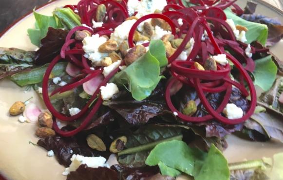 Beet Pistachio Salad with Horseradish Blue Cheese Dressing