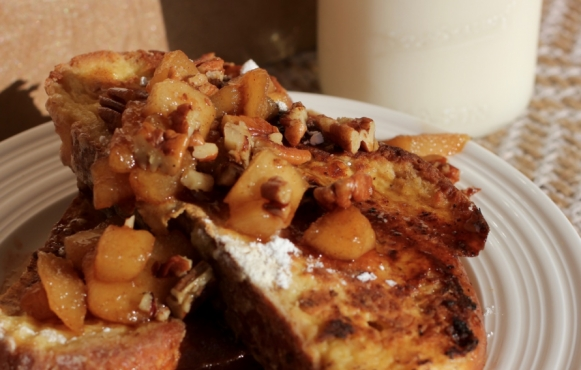 Challah French Toast with Balsamic Pear and Pecan Compote