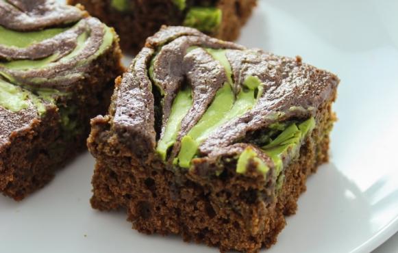 Gluten-Free Matcha White Chocolate Swirl Brownies