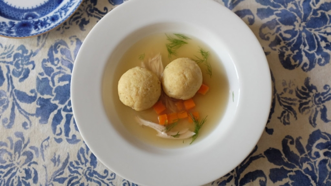 Matzo Ball Soup with Double Chicken Stock