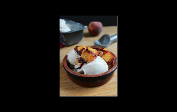 3-Ingredient Coconut Ice Cream with Spicy Grilled Peaches
