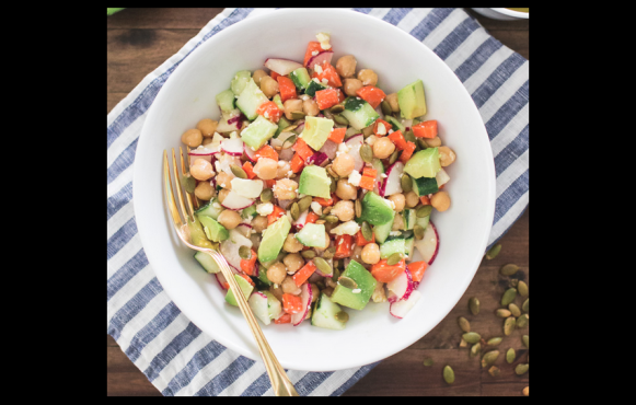 Fresh Chopped Salad with Chickpeas, Avocado and Pepitas