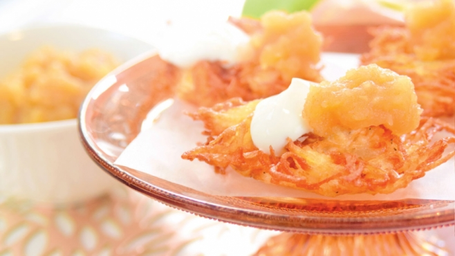 Crispy Home-Style Latkes with Homemade Applesauce and Sour Cream