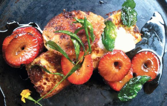 Eggplant Pain Perdu, Molasses Glazed Strawberries, Smoked Butter, Chicken Skin