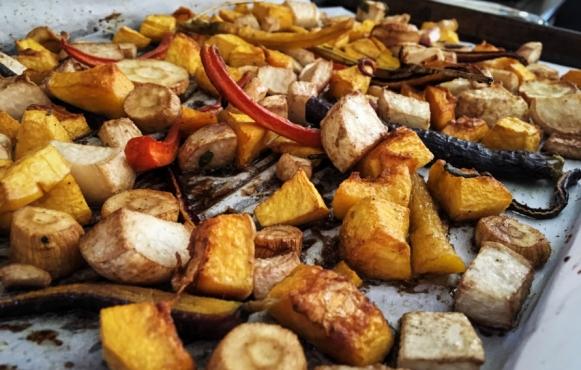 roasted root vegetables, honey, balsamic,