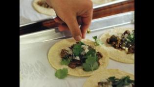 Grilled chicken thigh tacos with nam Phrik salsa