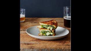Grilled Brie Sandwiches with Honey, Pistachio and Kale Pesto