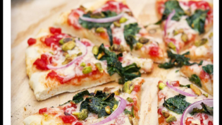 Kale, Red Onion and Pistachio Pizza