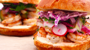 Shrimp Sandwiches with Pickled Slaw and Spicy Mayo