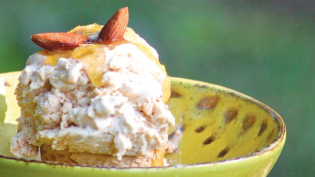 Persimmon Cardamom Ice Cream with Maple Syrup and Toasted Almonds